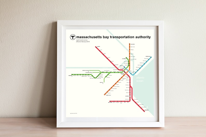 Boston Subway Map Poster.Boston Mbta Subway Map Original Poster Art Print