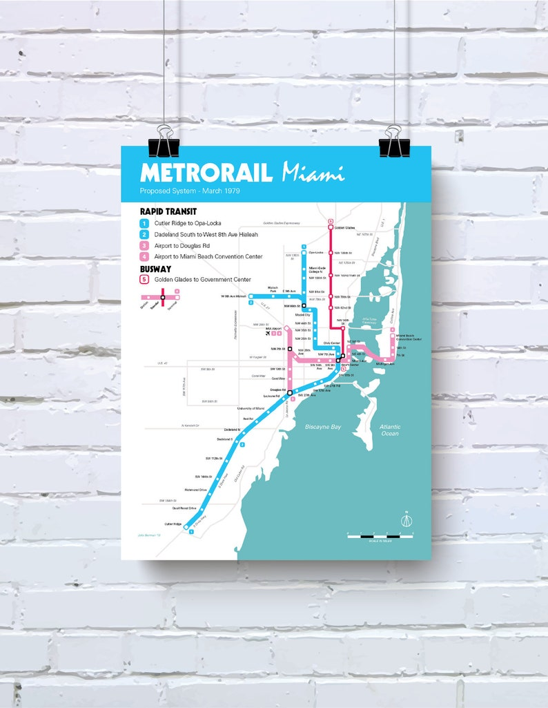 miami metrorail proposed system map - 1980s retro art poster - original art