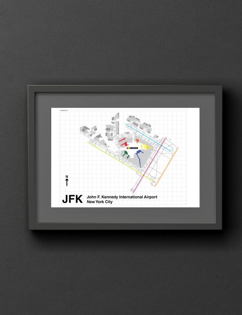Map Of New York Showing Jfk Airport.Jfk Airport Map New York City Original Poster Art Print