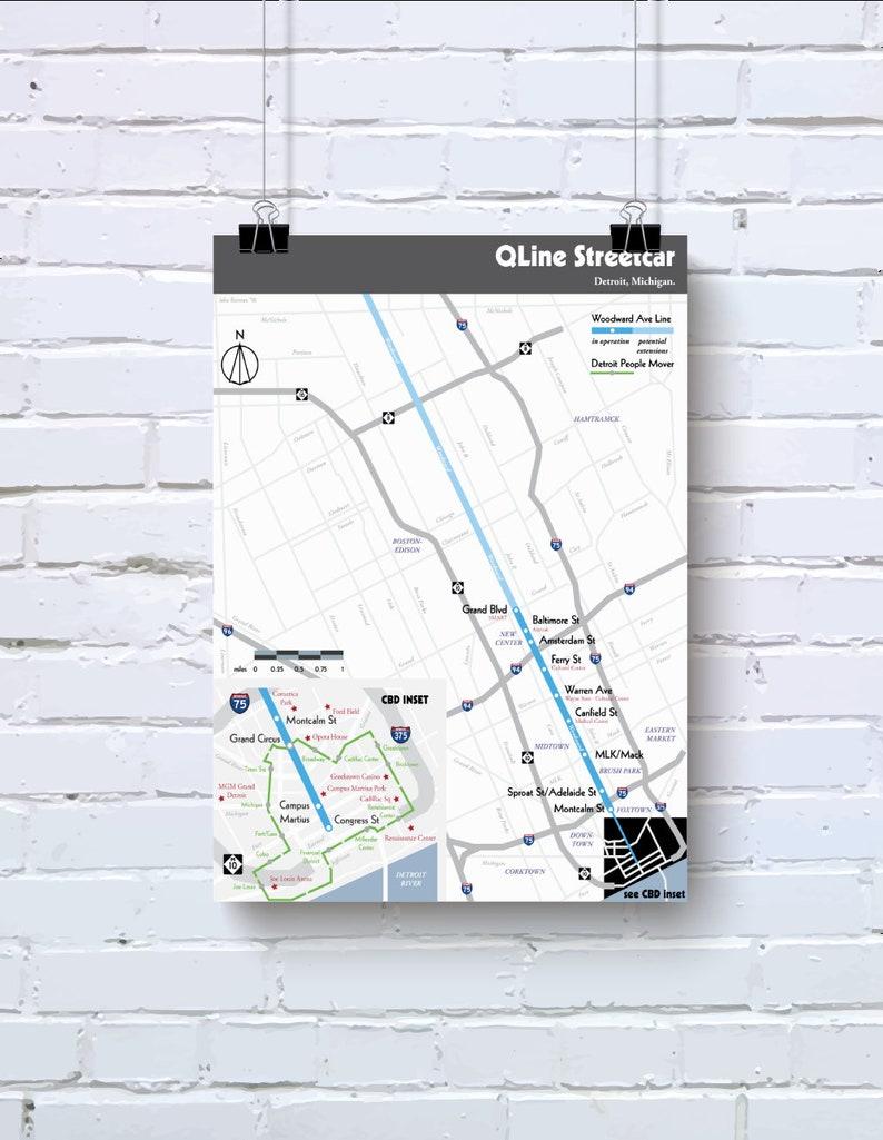 Original Detroit light rail map poster print   Etsy on