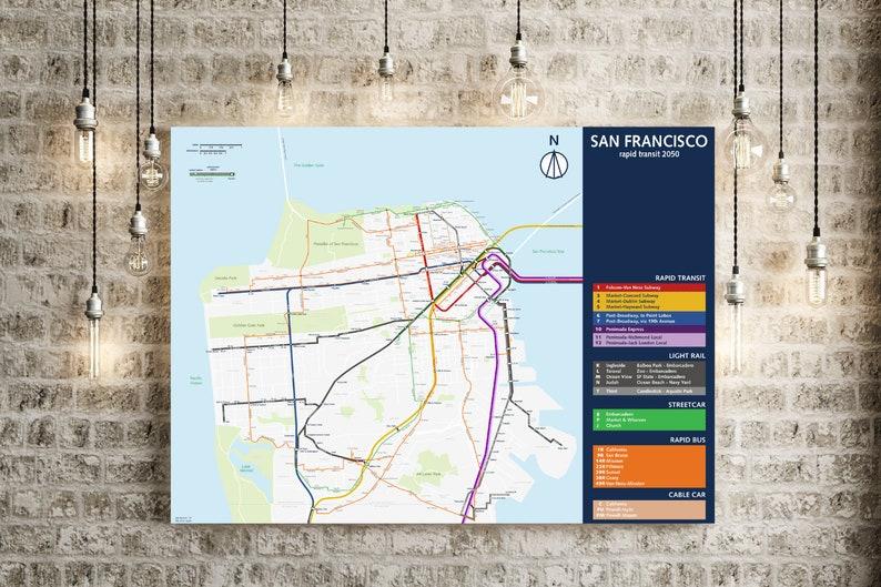 Muni San Francisco Subway Map.Future San Francisco Map Print Bart Caltrain Muni Perfect Poster For Your Future Themed Establishment