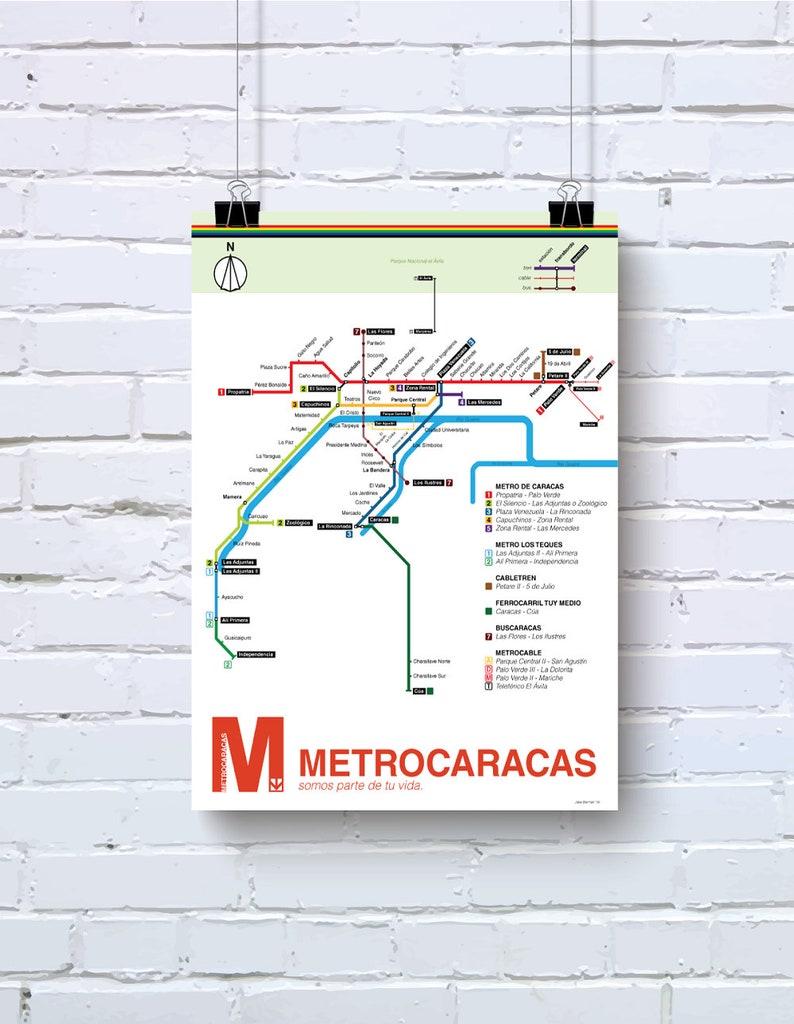 Current La Subway Map.Metro Map Of Caracas Venezuela Original Art Poster Print Home Decor Mapa Del Metro Y Cable De Caracas Arte Original Impreso