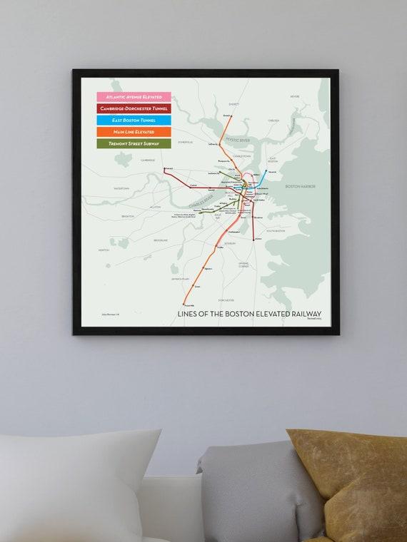 Cambridge Subway Map.Boston Elevated Railway Subway And Elevated Map Print 1925 Etsy