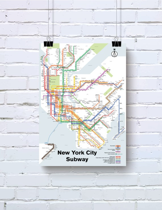 Newyork City Subway Map.New York City Subway Map Print Original Art Poster Etsy
