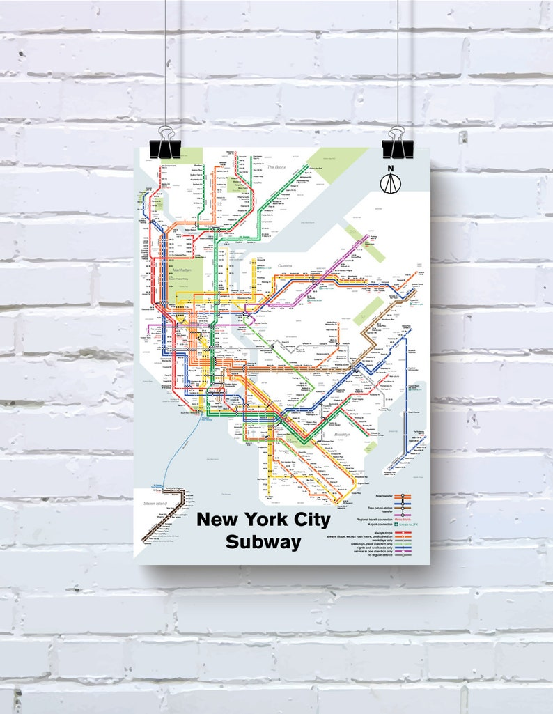 Subway Map For New York City.New York City Subway Map Print Original Art Poster