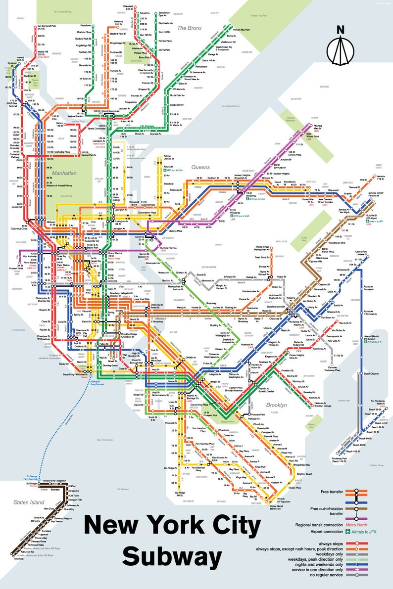 New York City Subway Map Brooklyn.New York City Subway Map Print Original Art Poster