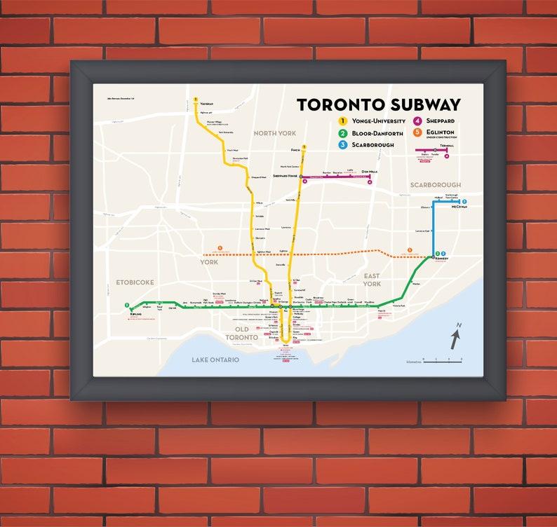 Toronto Subway Map Poster.Toronto Subway Map Poster Original Art Print