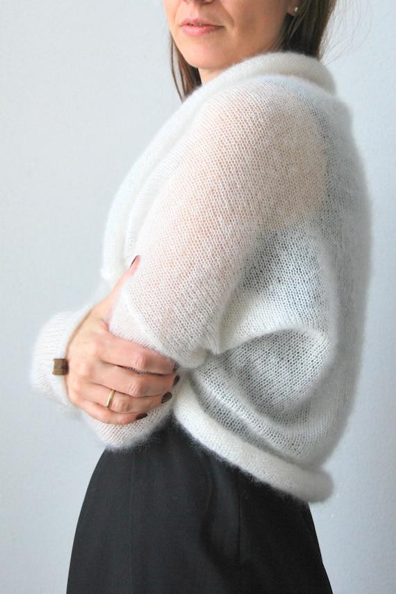Cover Up Mohair Wedding Sweater Mohair Knit Shrug Bracelet Sleeve Ecru Off White Ivory Bridal Fluffy Bolero Wedding Cardigan Jacket