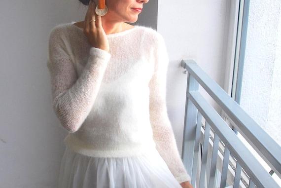 White mohair sweater Handmade White mohair sweater Wedding sweater