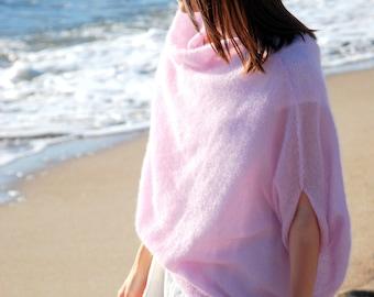 Mohair sweater, light pink sweater, women's sweater, women knit pullover, hand knit jersey, maternity apparel, girlfriend present, poncho