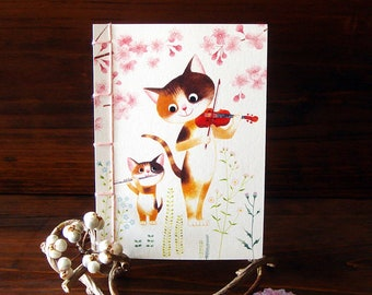 Japanese Stab Binding Card[Mother cat and kittens duet]