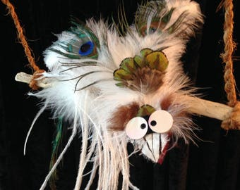 Feathers with wacky bird mobile