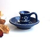 Vintage Porcelain Candelabra White Blue Ceramic Mid Century West Germany Candle Light Holder Painted Lighting Home Decor Candlestick Sconce