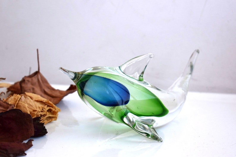 Vintage Fish Dolphin Green Clear Glass Figurine Statue Sculpture Paperweight Crystal Art Mouth Blown Art Home Decor European Family Gift