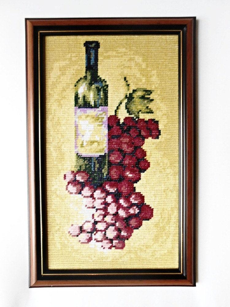 Fertige Kreuzstich umrahmt Stickerei Gobelin Flasche Rotwein