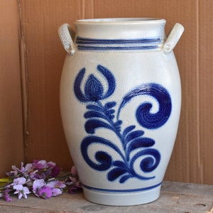 French Farm House Vintage Blue and Gray Salt Glazed Earthware Stoneware Planter Flower Pot Crock Pot