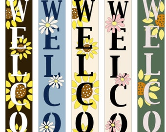 Set of 8 Individual Stencils for Making a DIY Welcome Sign,Reusable Porch Sign and Front Door Vertical Welcome Stencil Welcome Sign Stencils