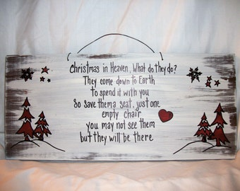 CHRISTMAS in HEAVEN MEMORIAL ,Christmas wood sign,primitive