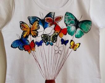 Hearts hand painted T-shirt, white T-shirt