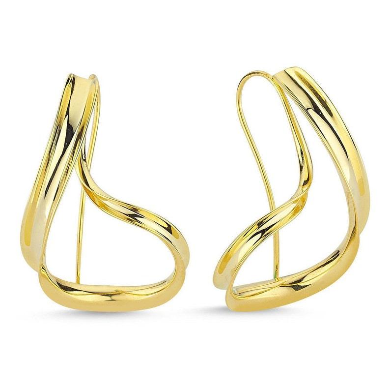 Dangle Earrings Twist Earrings Sterling Silver Earrings Long Wire Earrings Spiral Earrings Dangle Hoop Earrings Jewelry Handmade