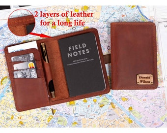 """Personalized Leather Field Notes Cover, Leather cover for Pocket size Field Notes notebook, Leather Cover for 3.5""""x5.5"""" Moleskine Notebooks"""