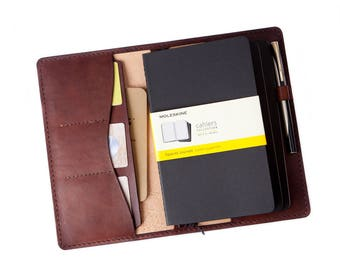 Leather Journal Personalized Leather Notebook Cover Midori Travelers Notebook  Moleskine Cover Fauxdori Moleskine A5 Moleskine  A6 B6 Brown
