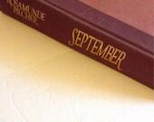 SEPTEMBER by Rosamunde Pilcher 1990, 1st Edition, Published in Canada. Vintage Hardcover. Burgundy Books. Coffee Table Decor. Adult Novel.