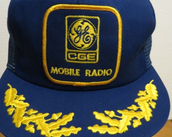87645f894eb Vintage CGE General Electric Mobile Radio Cap Hat Blue Trucker Snapback  Made In Canada Victory Caps