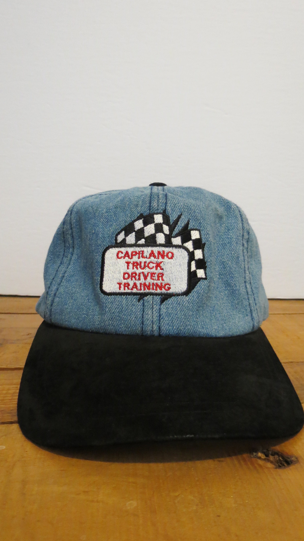 Capilano Truck Driver Training Cap Hat Denim Jean Black Suede  5d66a0110291