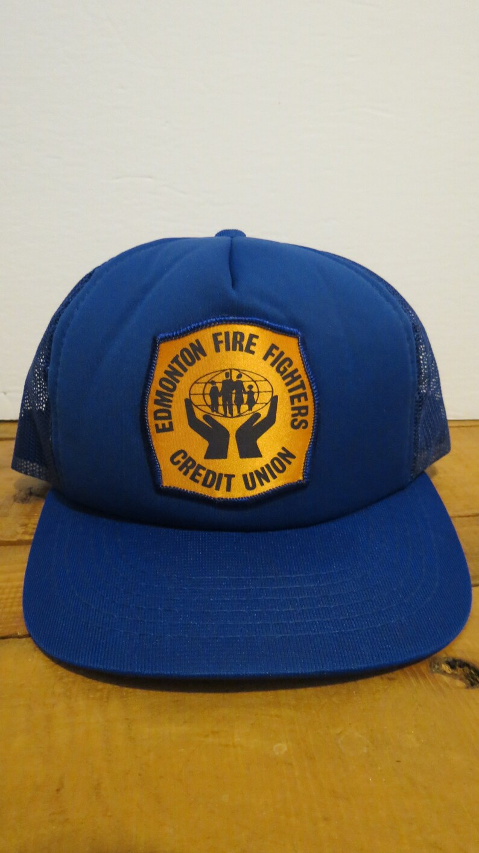 Edmonton Fire Fighters Credit Union Cap Hat Blue Trucker Mesh Snapback