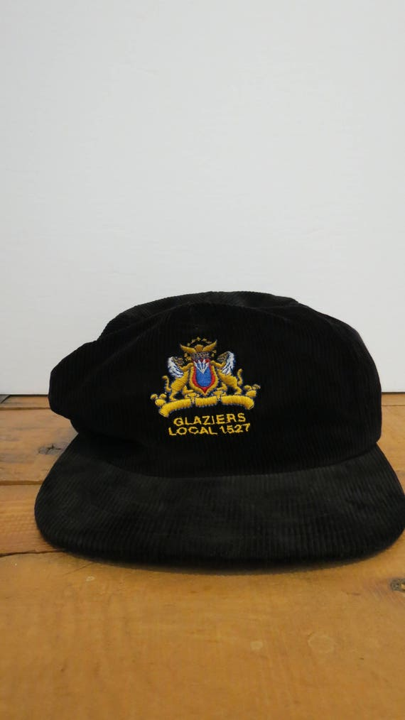 super popular efa68 4b015 GLAZIERS LOCAL 1527 Union Made Cap Hat Black Corduroy Trucker   Etsy