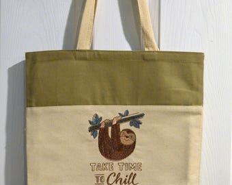 Sloth Embroidered Canvas Tote Bag -Take Time to Chill