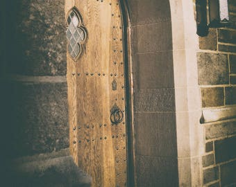 Film Noir, Mysterious, Door, Cathedral, Muted Tones, Wall Art,  Fine Art Photography
