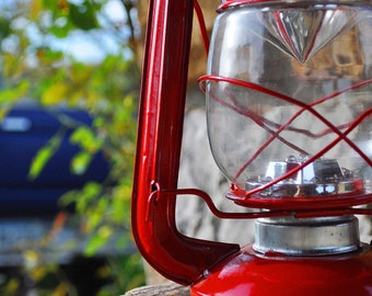 summer, camping, rustic, country, red, lantern, pickup, blue, white, game room, fine art, patriotic, americana, photography, green, wall art