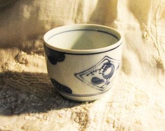 Vintage Tea Espresso Mocha cup porcelain with blue pattern