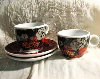 2 Espresso Mocha cups porcelain with floral pattern