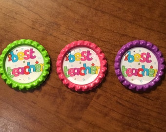 Handmade Best Teacher BottleCap Magnets, Set of 3