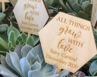 All Things Grow With Love Succulent Tags | Baby Shower Favors | Succulent Tags | All Things Grow With Love | *Succulent Not Included*