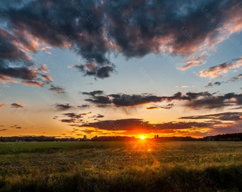 Photography art decor, sunset over a field in quebec: through fields - Marie-Eve LaBadie