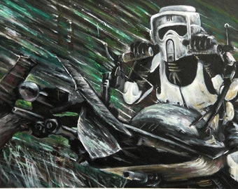 Biker scout painting - Star Wars Artwork - Scout Trooper with speeder bike Starwars Art - Acrylic and oil
