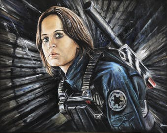 Star Wars Painting of Jyn Erso from Rogue One - 20x16 inch oil on canvas - Felicity Jones wall art
