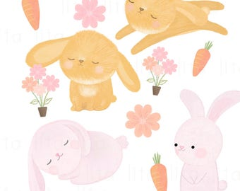 BUY2 get 1 FREE-Watercolor Kawaii Bunny Clipart (Instant Download, PNG file - 300 dpi)