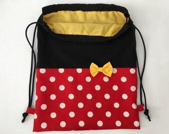 Disney Inspired Drawstring Backpack, Minnie Backpack