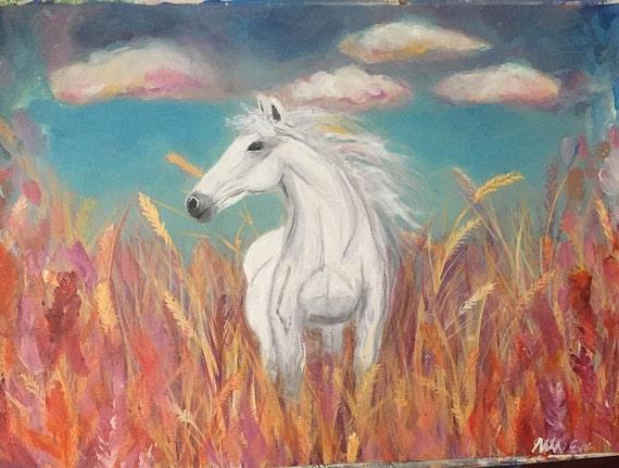 Oryginalny Obraz Konia Wystrój Konia Koń Malarstwo Biały Etsy