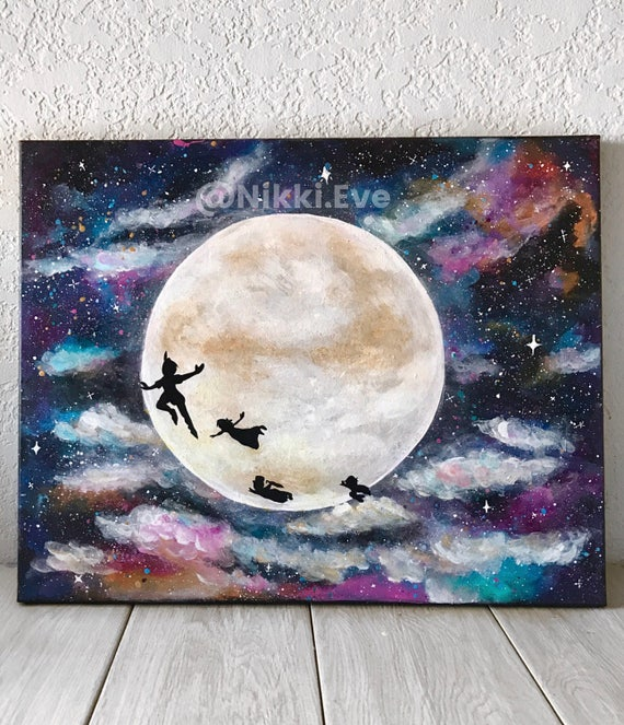 Original Peter Pan Acrylic Painting Art Disney