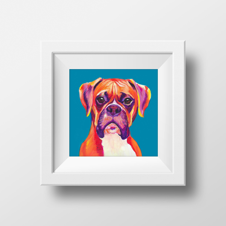 Boxer Dog Print Boxer Art Print Bedroom Decor Housewarming | Etsy