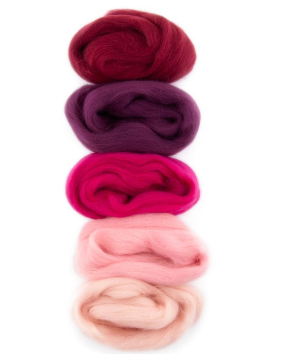 craft supply for felted wool projects Light Pink pink roving 12 ounce or 1 ounce pink needle felting wool Wool for needle felting