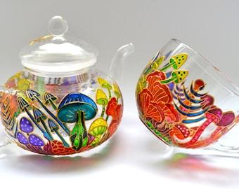 Mushroom Tea set hand painted Tea pot with infuser glass Tea cup