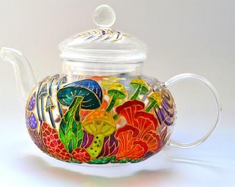 Mushroom glass teapot with infuser Hand painted Fantastic mushrooms