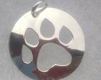 Dog paw, hand sawn, sterling silver, pendant, dog lover, animal lover, birthday gift, necklace, free chain, matching earrings sold seperate